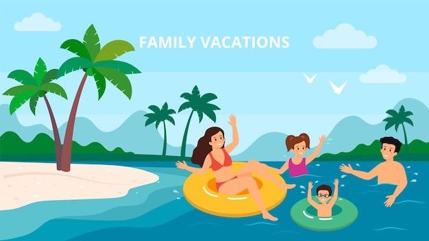 Famille natation vacances mer mer vacances d'été parents avec deux enfants vector illustration.