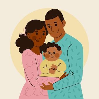 Famille noire dessinée à plat avec un bébé