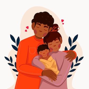 Famille noire dessinée à plat avec une illustration de bébé