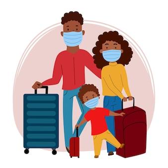 Une famille noire de touristes, un homme, une femme et un enfant, portant des masques et portant des valises. prévention du coronavirus, covid-19. voyages et tourisme pendant la pandémie. illustration vectorielle plane.