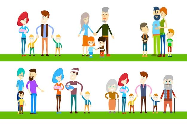 Famille nombreuse enfants parents grands-parents génération