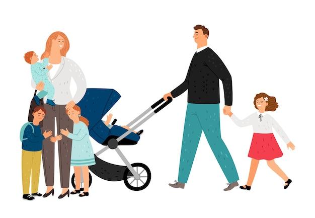 Famille nombreuse. plat mère, père, filles et fils. personnages de vecteur de famille heureuse