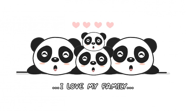 Famille de panda heureux mignon disent