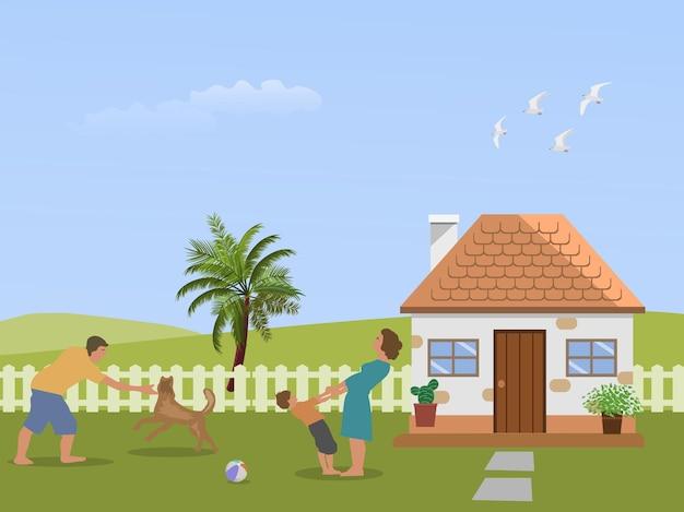 Famille parent-enfant s'amusant dans la cour avant avec des collines verdoyantes et le ciel en arrière-plan.