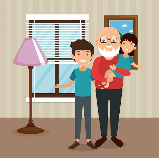 Famille, parents, dans, scène lieu lieu