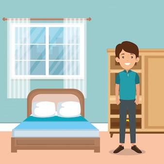 Famille, parents, scène, chambre à coucher