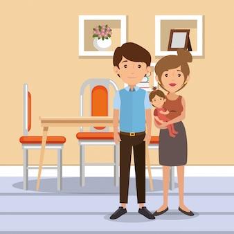 Famille, parents, scène, salle à manger