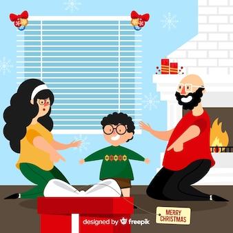 Famille partage présente illustration de noël