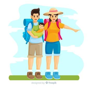 Famille partant en voyage