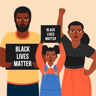 Une famille participe à la manifestation de black lives matters