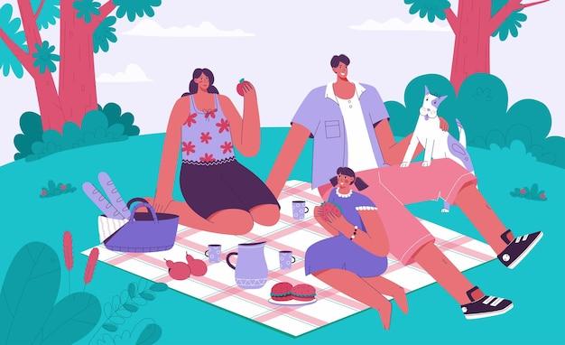 Famille passant du temps au concept de pique-nique