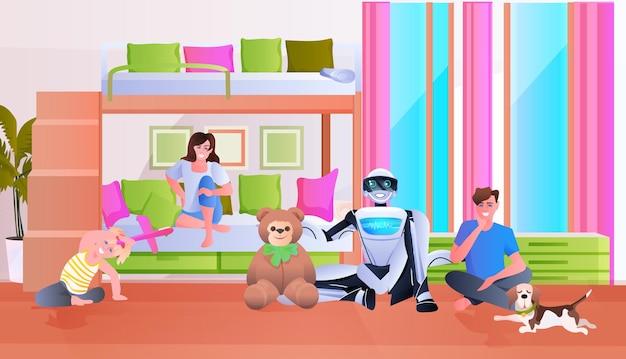 Famille passant du temps avec le concept de technologie d'intelligence artificielle de robot moderne