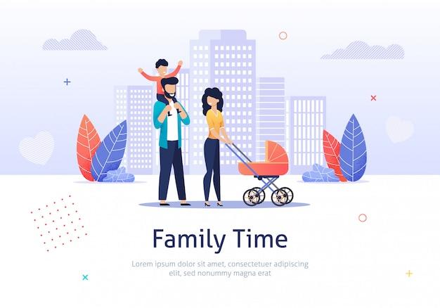 La famille passe du temps ensemble à marcher avec une poussette.