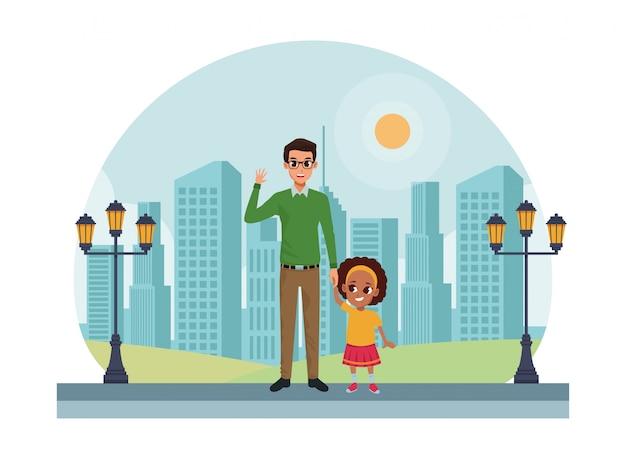 Famille père célibataire avec dessin animé petit enfant
