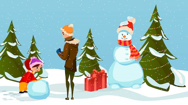 Famille père hiver amusement fille père faire boule de neige