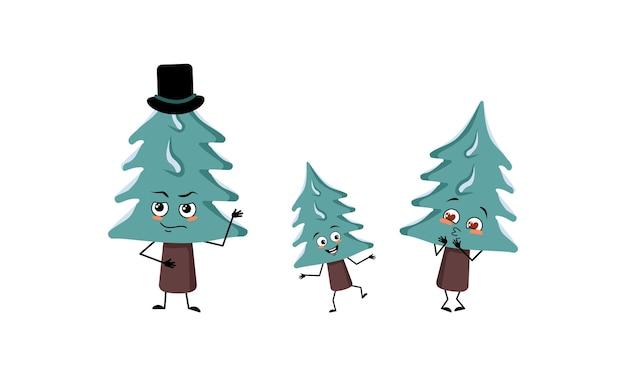 Famille de personnages mignons d'arbre de noël avec des émotions joyeuses, un visage, des yeux, des bras et des jambes heureux. maman est heureuse, papa porte un chapeau et l'enfant danse. décoration festive du nouvel an