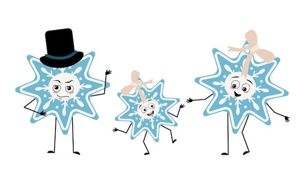 Famille de personnages mignons de flocon de neige de noël avec des émotions joyeuses face à des yeux heureux bras et jambes maman...