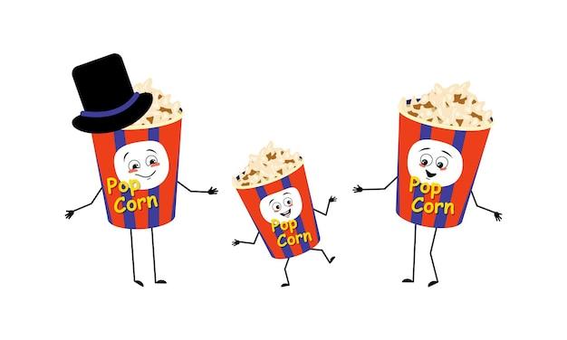 Famille de personnages de pop-corn avec des émotions joyeuses sourire visage yeux heureux bras et jambes maman est heureuse d ...