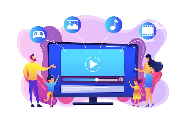 Famille de personnes minuscules avec enfants regardant du contenu télévisé intelligent. contenu smart tv, émission interactive smart tv, concept de contenu haute résolution. illustration isolée violette vibrante lumineuse