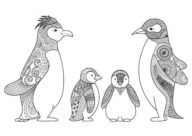 Famille de pingouins dessinée à la main