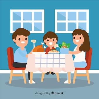 Famille plate autour de la table