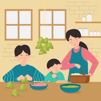 Famille plate préparant et mangeant des zongzi