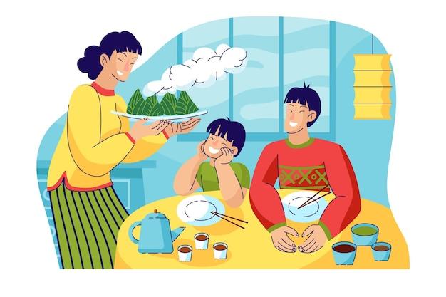 Famille plate préparant des zongzi