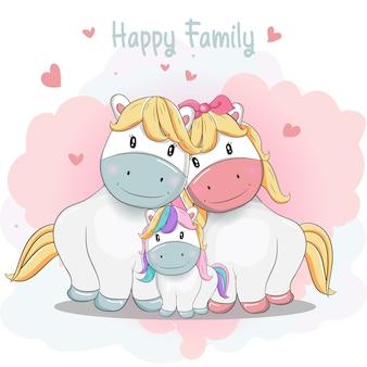 Famille de poney mignon de bande dessinée