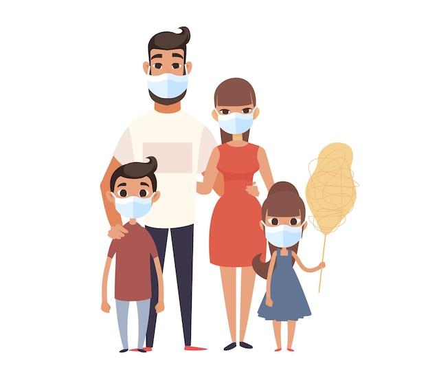 Famille portant un masque facial.