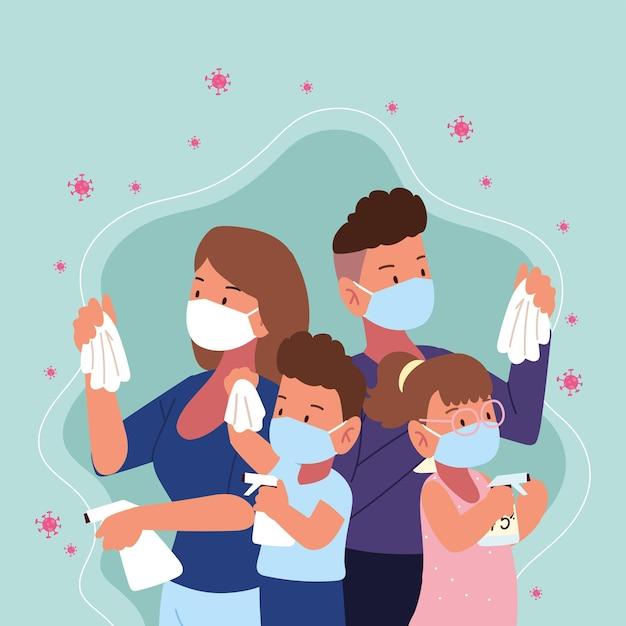 Une famille portant des masques médicaux combat le covid 19