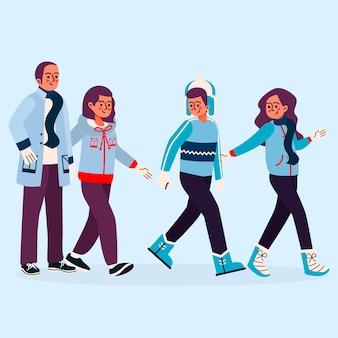 Famille portant des vêtements d'hiver