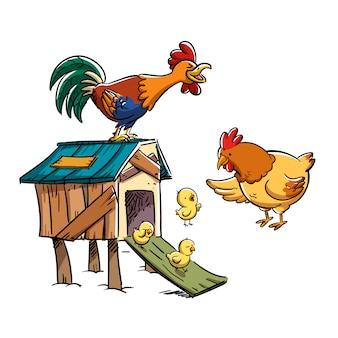 Famille de poulets dans le poulailler