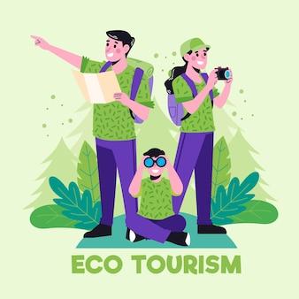 Famille pratiquant l'écotourisme