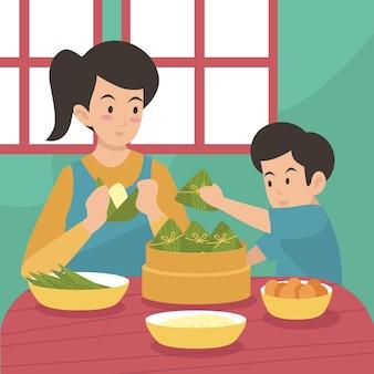 Famille préparant et mangeant des zongzi festifs