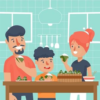 Famille préparant et mangeant des zongzi