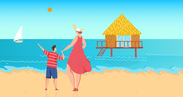 Famille près de l'eau de l'océan illustration vectorielle plat femme garçon caractère reste au bord de la mer mère fils enfant aux vacances d'été regarde maison sur pilotis