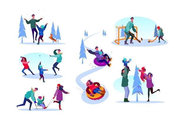 Famille profitant des activités d'hiver