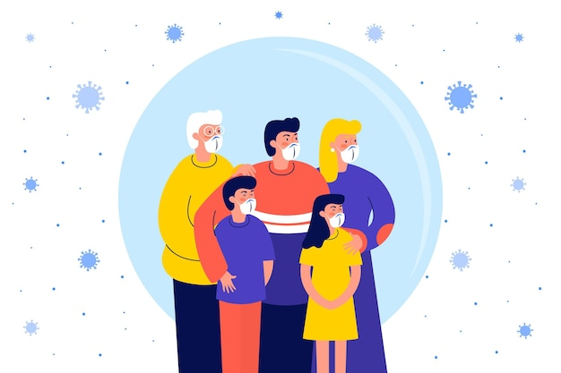 Famille protégée contre le virus illustrée