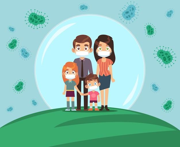 Famille protégée contre le virus. maman papa et enfants dans des masques médicaux se tiennent dans une bulle de protection, arrêtez la propagation des virus grippe et covid-19, méfiez-vous de l'illustration vectorielle plane de dessin animé épidémique