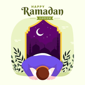 Famille ramadan kareem mubarak avec homme musulman priant pendant le jeûne de nuit lanterne et croissant de lune,