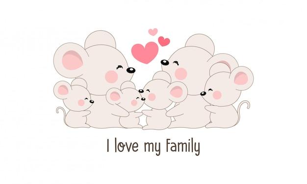 Famille de rat heureux mignon disent