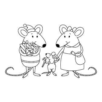 Famille de rats de noël. papa avec des cadeaux, maman tient un enfant par la main, un petit garçon avec une canne en bonbon. souris de nouvel an chinois heureux.