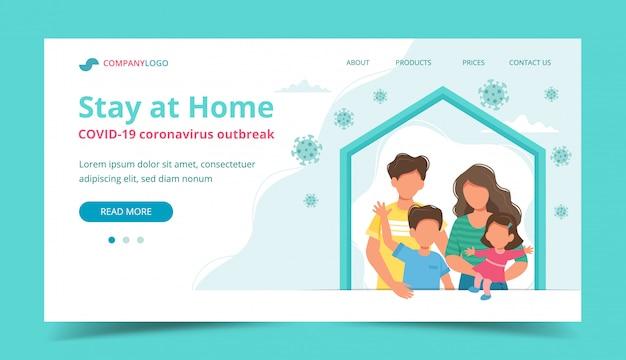 Famille restant à la maison en auto-quarantaine, page de destination ou modèle de bannière.