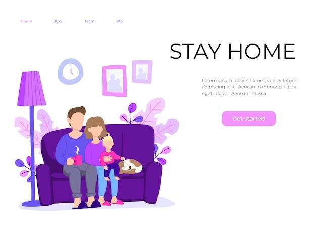 Famille rester à la maison, rester en sécurité. travail à domicile.