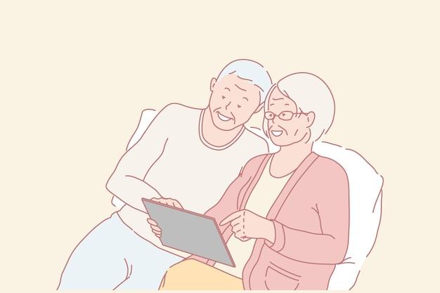 Famille, retraités, éducation, illustration de concept de communication en ligne