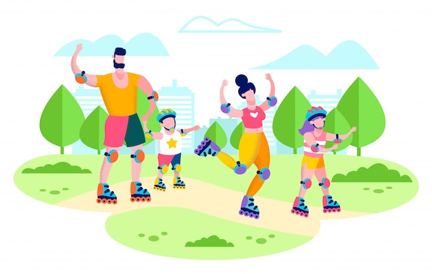 Famille rollers en city park flat vector