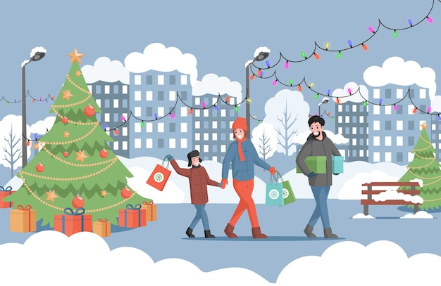 Famille, à, sacs provisions, marche, dans, décoré, parc ville