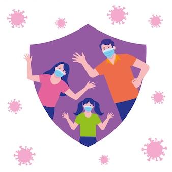 Famille saine protégée contre le virus