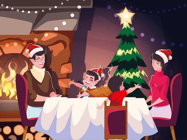 Famille, salle à manger, scène, soir noël