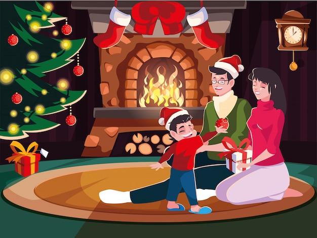 Famille, salon, décoration, noël, scène, soir noël